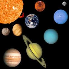 Güneş sistemi, gezegenler ve uydulardan kaya ve buz parçaları ile